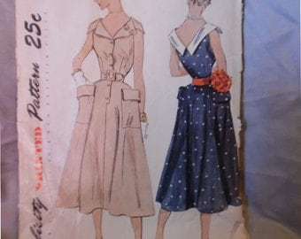 Vintage 50s Simplicity 3231 Misses' Sz 14 (32/26/35) Dress Pattern