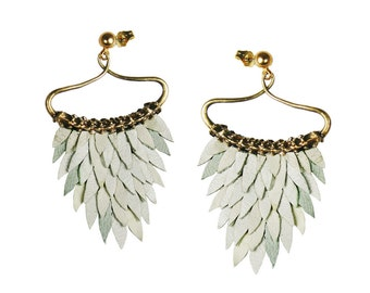 White Fish Scales Earring