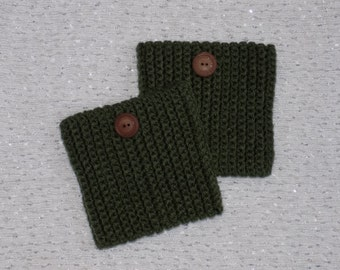 Ribbed Boot Cuffs w/ decorative button(s)