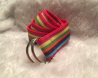 Rainbow Striped Fabric Belt