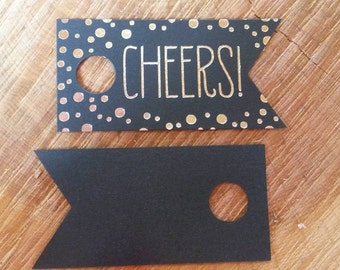 Silver Foil Cheer Favor Tags