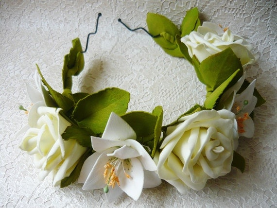 White Wedding Bohemian Floral Halo Flower Bridal Rustic Roses And
