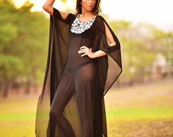 Black Mesh Kaftan Swimsuit Coverup