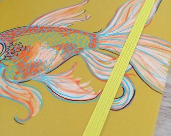 "Hand Painted Journal Medium ""Mt.4:19"" (Gold Fish)"