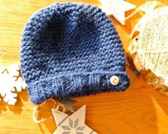 """My little marine"" blue baby bonnet"
