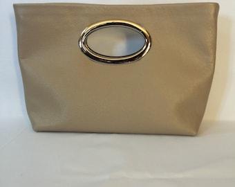 Gold Metallic Leather Clutch