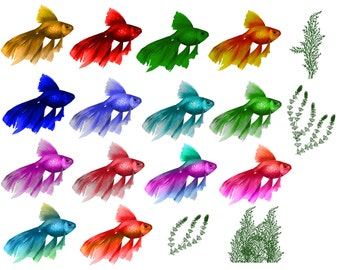 Fish Clipart Digital Algae clip art Scrapbooking Sea Elements aquarium digital Personal and Commercial Use