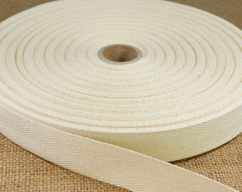 Cotton Herringbone Webbing 25mm - Natural - 50 Metre Roll