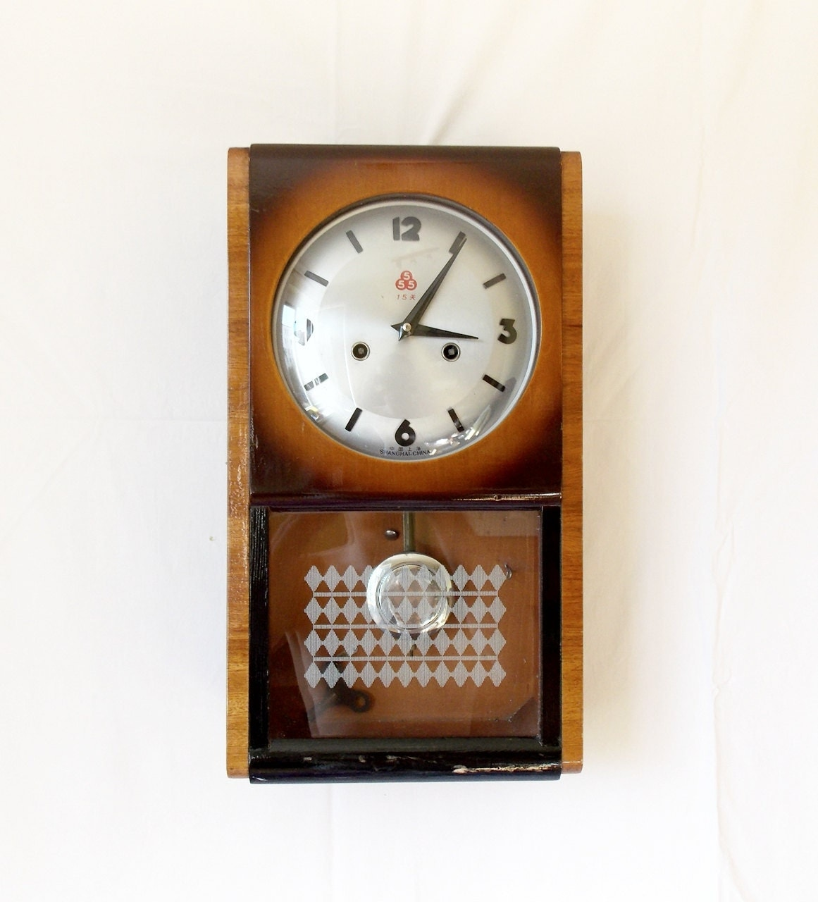 Rare vintage 1950s chinese shanghai 555 regulator wall clock zoom amipublicfo Image collections