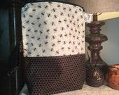 "RESERVED Marie Landry Knitting Project Bag Kit ""Bees"" (Medium yarn bowl bag & Stitch marker set)"