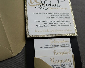 Black and Champagne Pocket Invitation with Glitter Mat & Belly Band