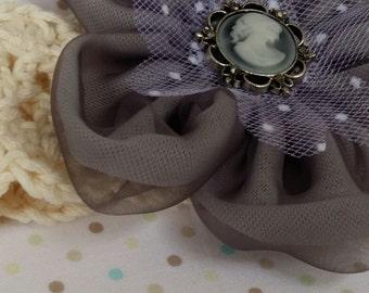 Crochet Girl/Ladies Headband, handmade in 100% Cotton with Fabric Flower