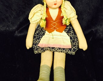 1940's Mask Face - Celluloid Cloth Doll - Made in Poland
