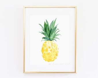 Pineapple Tropical Fruit Watercolor Art Print - Yellow, Citrine, Emerald Green