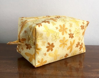 Zippered Box Pouch - Yellow Flower