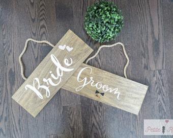 Bride & Groom Vintage Wood Signs