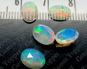 Opal rose cut 6x8mm Faceted Cabochons Oval - Ethiopian Opal high quality awesome strong flashy multi fire welo Ethiopian opal Oval rose cut