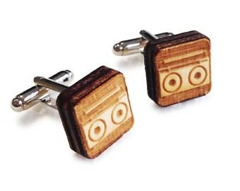 Wooden Cufflinks: Tape Recorder FREE WORLDWIDE SHIPPING