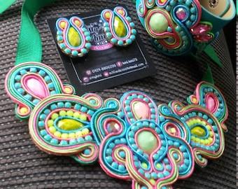 Maxi necklace Soutache, earrings and bracelet