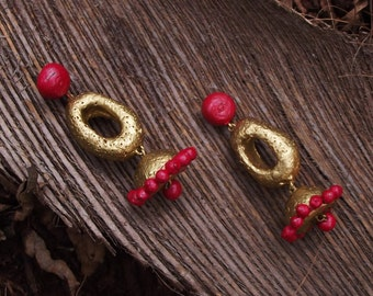 elegant orange and gold ethnic terracotta dangling earrings
