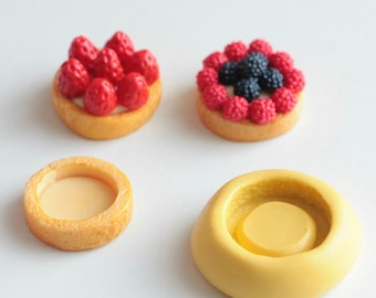 Tart silicone mold, realistic Pie 1.5 cm (base). Polymer clay, resin, airclay miniature polymer clay