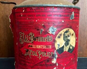 Vintage Metal Polish Tin