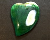 Green and white druzy heart agate pendant