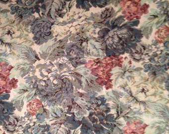"Vintage Floral Tapestry Upholstery Fabric--blues, greens,  tans, reds--54"" wide--by the YARD--Made in USA"