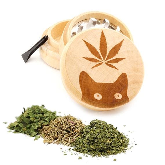 Leaf Cat Engraved Premium Natural Wooden Grinder Item # PW042716-51