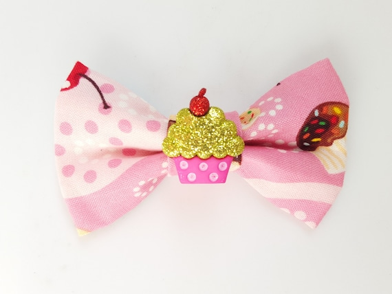 Cupcake Bow for Cat or Small Dog Collars, Matching Velcro Collar, Party, Birthday 100% Sales Donated to Feeding Feral Cats Read in Bio