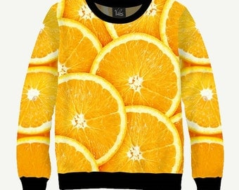 Fruit, Sliced Orange - Men's Women's Sweatshirt   Sweater - XS, S, M, L, XL, 2XL, 3XL, 4XL, 5XL