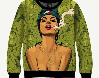 Smoking Girl, Smoke - Men's Women's Sweatshirt | Sweater - XS, S, M, L, XL, 2XL, 3XL, 4XL, 5XL