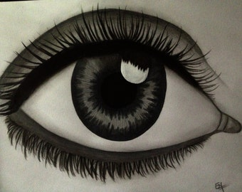 Eyeball- Original Drawing- mixed media