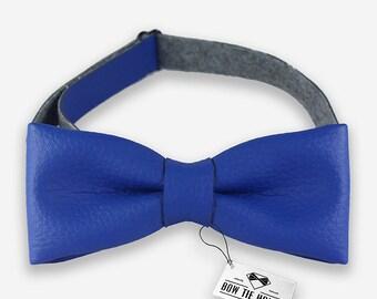 Leather bowtie - blue bowtie, bow tie, handmade bowtie