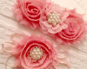 Garters pink chic romantic lace flower