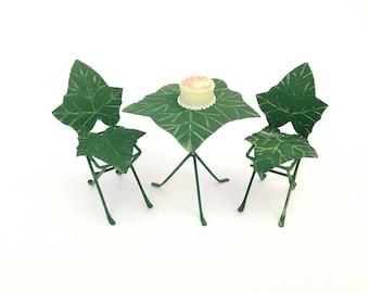 Miniature fairy garden bistro, fairy garden table, fairy garden chairs, miniature chair, miniature table, leaf chair, enchanted garden