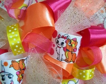 Aristocats Disney Theme Birthday Party Centerpiece Ribbon Topiary Kids Room Decor Baby Shower Gift!  Tulle & Ribbon!