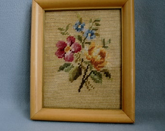 Pretty Framed Floral Needlepoint