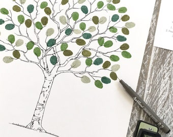 """Fingerprint Tree Wedding Guest Book + 2 ink pads.  """"Contemporary Tree"""" A3 size. Personalised. FREE delivery Aust."""