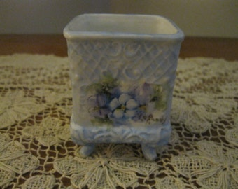 Shirley Roney Artist Signed Hand Painted Violets Toothpick Holder NEW! #SR