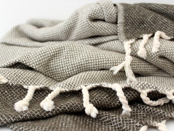 Grey Wool Throw Blanket Lambswool Sofa Couch By Ontherainbow