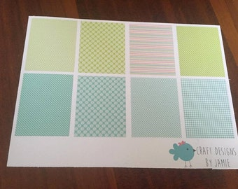 Green and Teal Full Box Planner Stickers