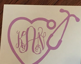 Nurse Monogram Sticker, Nurse Decal, Heart Stethoscope, Stethoscope Decal