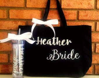 Bridesmaid Gift Tote and Tumblr/Custom tote bags, Personalized Tumblers Set, bride team bags, bridesmaid tote bag, bridal tote bag, wedding