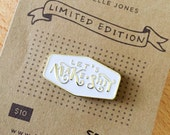 Let's Make Shit. LIMITED EDITION Collector's Enamel Pin. Maker flare for your denim jacket. Soft enamel. White and gold.