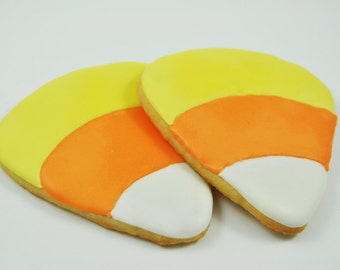 Candy Corn -  Halloween - Thanksgiving Cookies - Fall Cookies - Decorated Iced Sugar Cookies - Half a Dozen