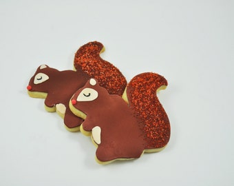 Squirrels - Autumn Cookies - Decorated Iced Sugar Cookies - One Dozen - Fall  - Forest