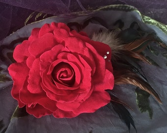 Red Velvet Rose Fascinator, Large Flower and Feather Hair Clip