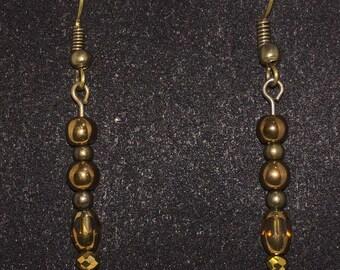 Brown/gold dangle earrings