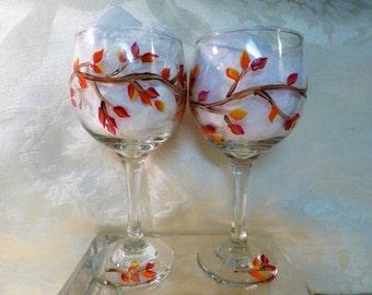 Hand Painted Autumn Leaf Wineglasses -2, Fall Wineglasses, Fall Decor, Autumn Leaves